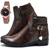 Bota Coturno Cano Curto Fashion Com Relógio Gold Dubuy 207El Marrom
