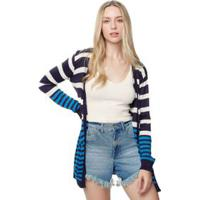 Cardigan Tricot Stripes Azul