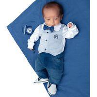 Saída De Maternidade Paraiso 4 Peças Denim Gravatinha Azul