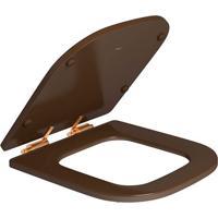 Assento Poliester Marrom Fosco Com Slow Close E Ferragem Gold Matte Para O Modelo Piano Ap337 - Deca - Deca