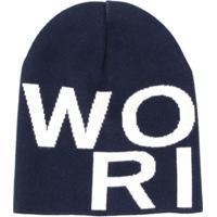 Woolrich Kids Logo Printed Beanie Hat - Azul