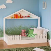 Cama Infantil Montessoriano Com Cercado Unissex Branco