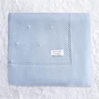Manta Bebê Menino Tricot Bolinha Azul 80Cm Grão De Gente Azul