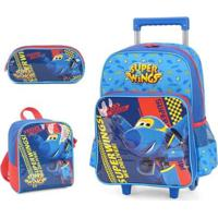 Kit Super Wings Mochila Com Rodinhas + Lancheira + Estojo - Masculino-Azul