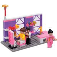 Blocos De Encaixe Xalingo Salão De Beleza 91 Peças Rosa