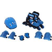 Kit Rollers Belfix Patins Radical Ajustável Azul - Tricae