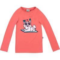 Camiseta Com Pespontos- Rosa & Branca- Kids- Pucpuc