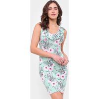Vestido Efa Floral Babados - Feminino-Verde
