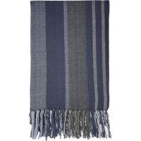 Manta Listra Solteiro- Azul Escuro & Cinza- 130X240Csanta Luzia
