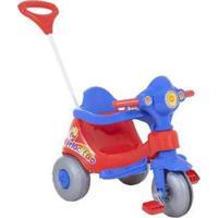Triciclo Infantil Calesita Com Empurrador Velocita - Unissex-Vermelho+Azul