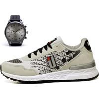 Kit Tênis Ousy Shoes Running Cinza Preto Lançamento + Relógio