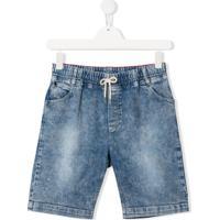 Little Marc Jacobs Bermuda Jeans Com Detalhe De Patch - Azul