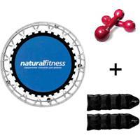 Kit Par Caneleira 3Kg + Par Halter 2Kg + Mini Jump Profissional Rosa Natural Fitness - Unissex