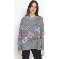Blusão Em Tricô Floral - Cinza Escuro & Rosa - Wool Wool Line