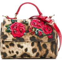 Dolce & Gabbana Kids Bolsa Tiracolo Com Bordado Floral - Marrom