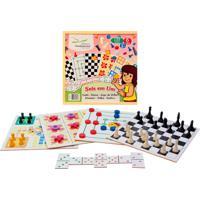 Brinquedo Educativo 6 Em 1 - Dama, Trilha, Ludo, Jogo Da Velha, Domino E Xadrez Editora Fundamental Amarelo