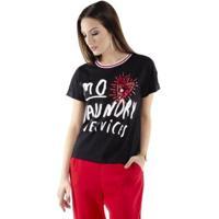 Blusa Pop Me T-Shirt Aplicações Feminina - Feminino-Preto