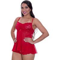 Baby Doll Tule Renda Transparente Angel Feminina - Feminino-Vermelho
