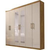 Guarda-Roupa Casal Com Espelho Olimpo 6 Pt 3 Gv Ipê E Off White