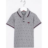 Camiseta Infantil Gola Polo Estampada - Tam 1 A 4 Anos