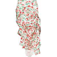 Yuhan Wang Asymmetric Draped Strawberry-Print Skirt - Branco