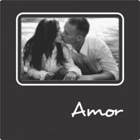 Porta Retrato Plaquet Amor Para 1 Foto 10X15 Preto Kapos