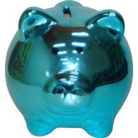 Cofre Real Arte Espelhado Porquinho Azul