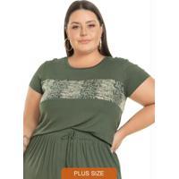 Blusa Feminina Com Faixa Em Paetê Verde