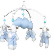 Móbile Musical Carneiro Azul E Nuvem Quarto Bebê Infantil Menino Potinho De Mel