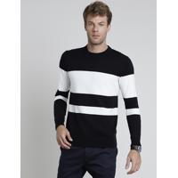 Suéter Masculino Slim Em Tricô Listrado Preto
