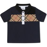 Burberry Kids Camisa Polo Com Recorte Xadrez - Azul