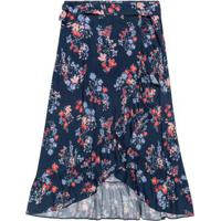 Saia Azul Marinho Midi Floral