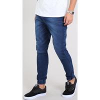 Calça Jeans Masculina Jogger Skinny Com Bolsos Azul Escuro