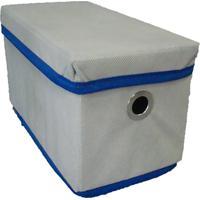 Caixa Organizadora Com Tampa Ilhós 14X15X28Cm Organibox Bege/Azul