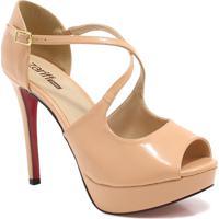 Sapato Peep Toe Zariff Numeração Grande Salto Fino Nude