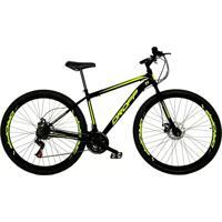 Bicicleta Dropp Aro 29 Freio A Disco Mecânico Quadro 17 Aço 21 Marchas Preto Amarelo