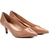 Scarpin Shoestock Salto Médio Verniz - Feminino-Nude