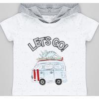 b6400d1e27088 CEA  Camiseta Infantil Dinossauro Botonê Com Capuz Manga Curta Gola Careca  Off White