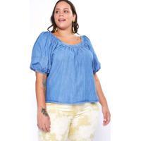 Blusa Almaria Plus Size Izzat Jeans Manga Bufante