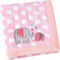 Manta Fleece Elefantinhos- Rosa Claro & Branca- 76X1Lepper