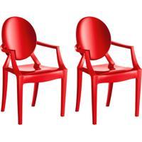 Conjunto Com 2 Cadeiras De Plástico Wind Vermelho