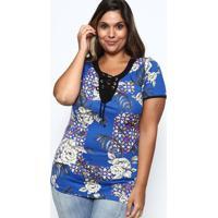 Blusa Floral Com Amarraã§Ã£O- Azul & Preta- Mirasulmirasul