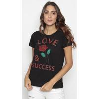 """Blusa """"Love & Success"""" - Preta & Vermelha- Cavallaricavalari"""