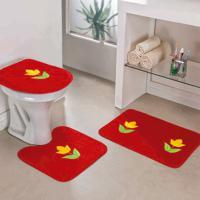 Jogo Banheiro Dourados Enxovais Tulipa Vermelho