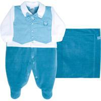 Saída De Maternidade Sonho Mágico Plush Gravata Azul Náutico