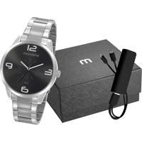 Kit De Relógio Analógico Mondaine Masculino + Carregador Portátil - 53925G0Mgne4K1 Prateado