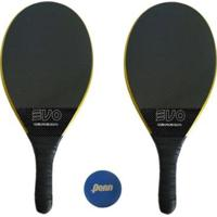 Kit Raquetes Frescobol Evo Carbon Profissional Com Bola Penn - Masculino