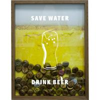Quadro Porta Tampinhas De Cervejas Save Water Drink Beer Natural