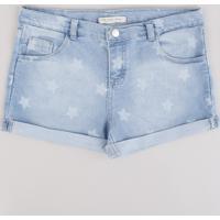 Short Jeans Infantil Estampado De Estrelas Com Bolsos Barra Dobrada Azul Claro