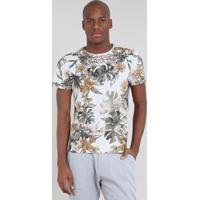 CEA  Camiseta Masculina Slim Fit Estampada De Folhagens Manga Curta Gola  Careca Cinza Mescla Claro fc8689a521d4b